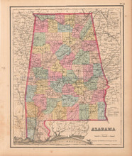 Alabama Antique Map Colton GW 1857