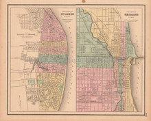 St. Louis Chicago Antique Map Colton GW 1857
