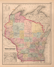 Wisconsin Antique Map Colton GW 1857