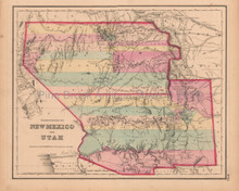 New Mexico Utah Antique Map Colton GW 1857