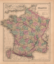 France Antique Map Colton GW 1857