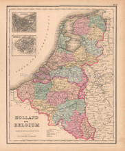 Holland Belgium Antique Map Colton GW 1857