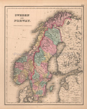 Sweden Norway Antique Map Colton GW 1857