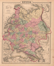 Russia Antique Map Colton GW 1857