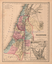 Palestine Antique Map Colton GW 1857
