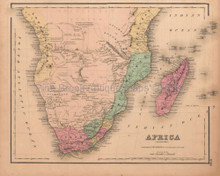 Africa Southern Antique Map Colton GW 1857