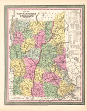 State of Vermont New Hampshire Antique Map DeSilver 1854