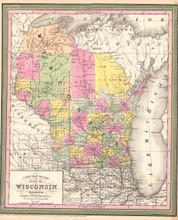 Wisconsin Antique Map DeSilver 1854