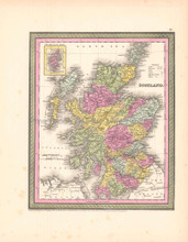 Scotland Antique Map DeSilver 1854