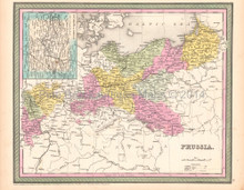 Prussia Poland Antique Map DeSilver 1854