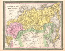 Russia Tartary Antique Map DeSilver 1854