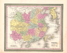 China Korea Antique Map DeSilver 1854