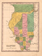 Illinois Antique Map Anthony Finley 1824