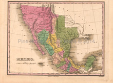 Mexico Antique Map Anthony Finley 1824