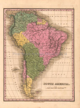 South America Antique Map Anthony Finley 1824