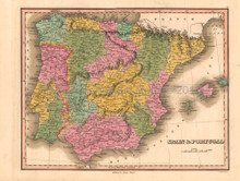 Spain Portugal Antique Map Anthony Finley 1824