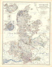Denmark Hanover Antique Map Johnston 1861