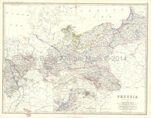 Prussia Antique Map Johnston 1861