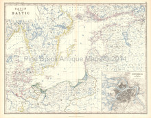 Baltic Sea Antique Map Johnston 1861
