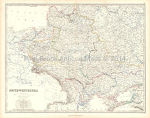 Southwest Russia Antique Map Johnston 1861