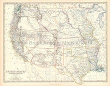 Western States USA Antique Map Johnston 1861