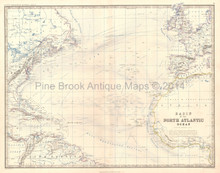 North Atlantic Ocean Antique Map Johnston 1864