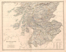Scotland South Antique Map Johnston 1864