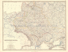 Southwest Russia Antique Map Johnston 1864
