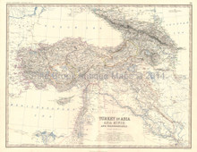 Turkey Transcaucasia Antique Map Johnston 1864