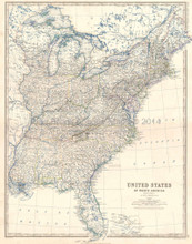 Eastern States USA Antique Map Johnston 1864