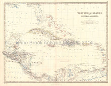 West India Islands Central America Antique Map Johnston 1864