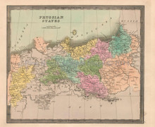 Prussian States Antique Map Greenleaf 1844