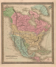 North America Antique Map Greenleaf 1844