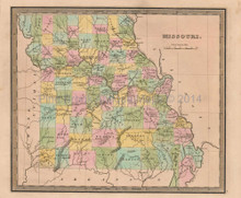 Missouri Antique Map Greenleaf 1844