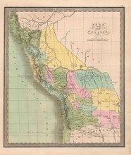 Peru Bolivia Antique Map Greenleaf 1844