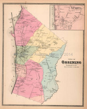 Town of Ossining New York Antique Map Beers 1867