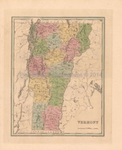 Vermont Antique Map Bradford 1838
