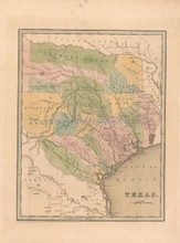 Republic of Texas Antique Map Bradford 1838
