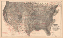 United States Climate Antique Map Gray 1873