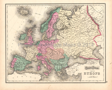Europe Great Britain Antique Map Gray 1873