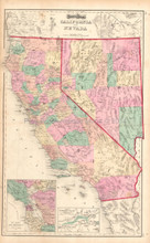 CaliforniaAntique Map Gray 1873