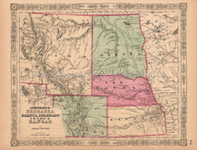 Nebraska Dakota Colorado Vintage Map Johnson 1864