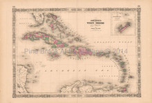 West Indies Bermuda Vintage Map Johnson 1864