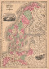 Prussia Norway Vintage Map Johnson 1864