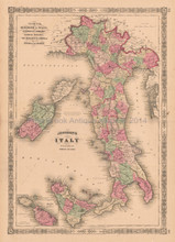 Italy Vintage Map Johnson 1864