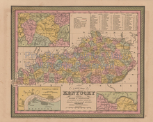 Kentucky Vintage Map Mitchell Cowperthwait 1853
