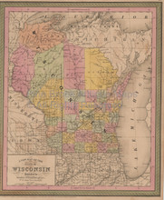 Wisconsin Vintage Map Mitchell Cowperthwait 1853