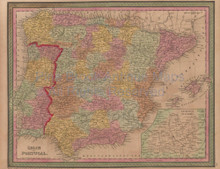 Spain Portugal Vintage Map Mitchell Cowperthwait 1853