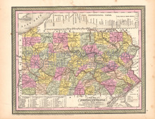 Pennsylvania Vintage Map DeSilver 1855