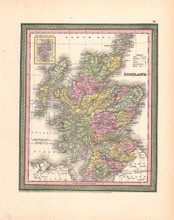 Scotland Vintage Map DeSilver 1855